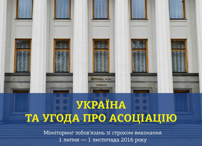 Результати моніторингу виконання Угоди про асоціацію: 1 липня — 1 листопада 2016 року